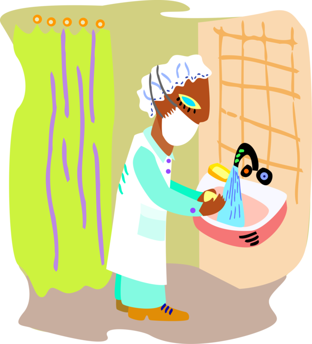 banner library download Vector doctor surgeon. Washes hands before surgery