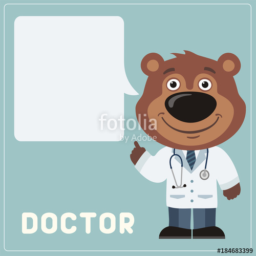 png stock Vector doctor teddy bear. With bubble speech in