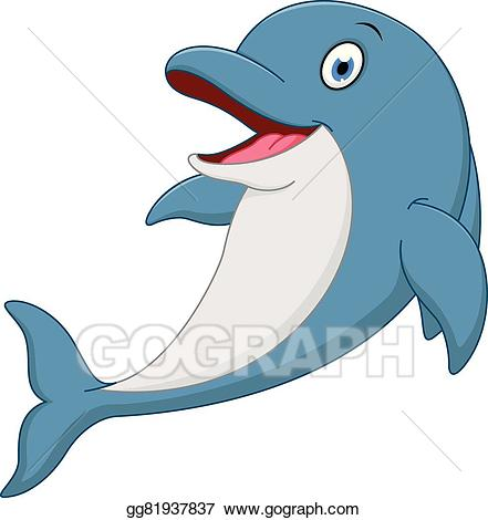 vector transparent Art happy cartoon clipart. Vector dolphin animated