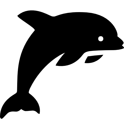 graphic transparent stock Vector dolphin black and white. Animals icon android iconset