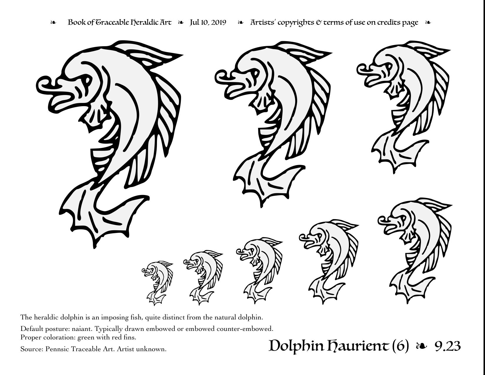 vector download Traceable art . Vector dolphin heraldic