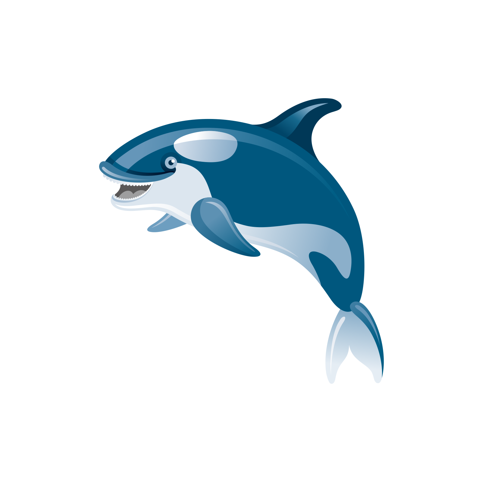 png black and white Shark common bottlenose icon. Vector dolphin jump