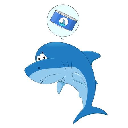 clipart stock Vector dolphin sad cartoon. Shark royalty free graphics