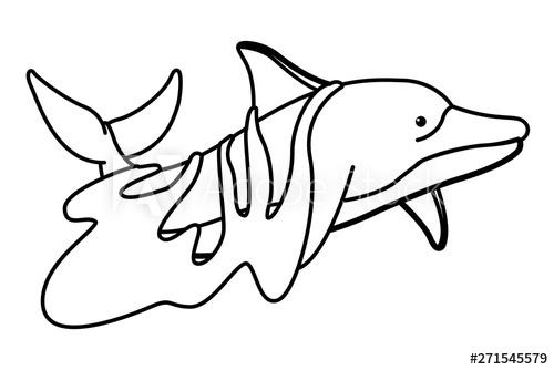 jpg royalty free download With a trash bag. Vector dolphin sad cartoon