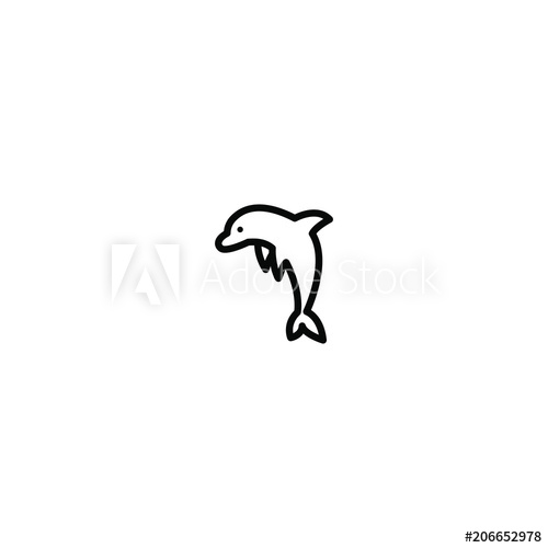 black and white library Jumping line icon illustration. Vector dolphin simple