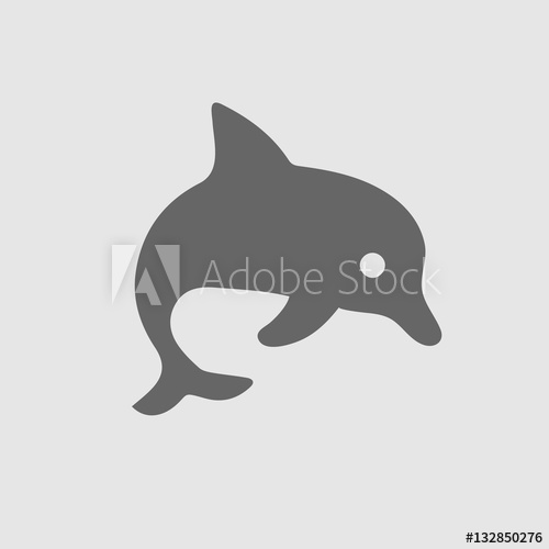 png black and white library Vector dolphin simple. Icon eps isolated illustration