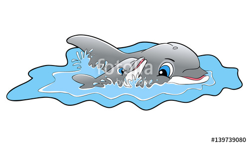 png black and white Vector dolphin swimming. Happy dolphins illustration stock