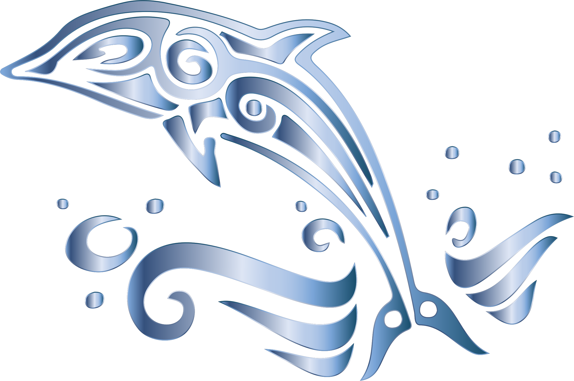 black and white stock Chromatic Tribal Dolphin