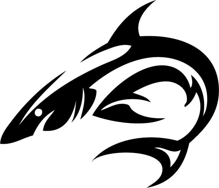 vector freeuse Vector dolphin tribal. Shark tattoo isolated stock