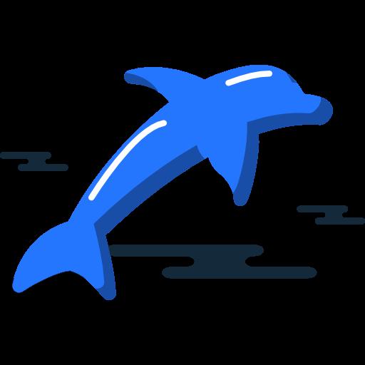 black and white stock Dolphin Icon Free of Miscellanea