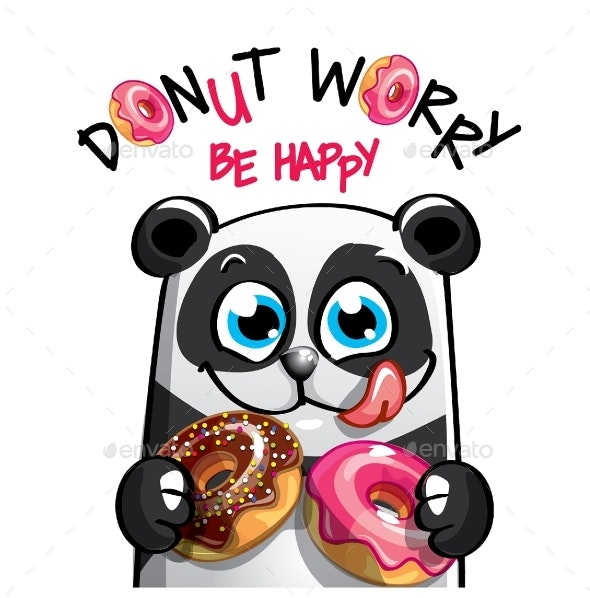 vector freeuse Vector donut animated. Illustration of cartoon panda