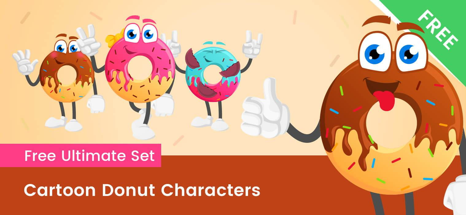 vector royalty free library Cartoon set ai file. Vector donut animated