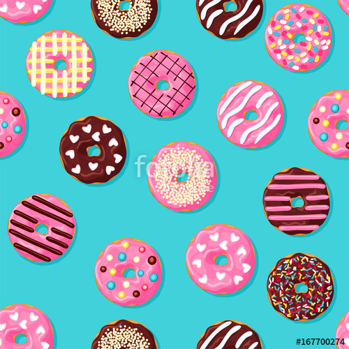 svg freeuse stock Vector donut background. Seamless pattern pink chocolate