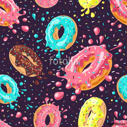 clip art library Donuts with pink chocolate. Vector donut background