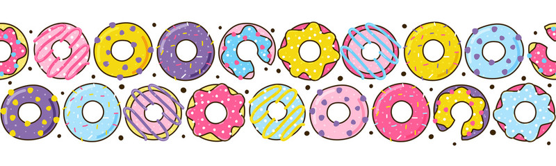 svg black and white library Seamless with color donuts. Vector donut border