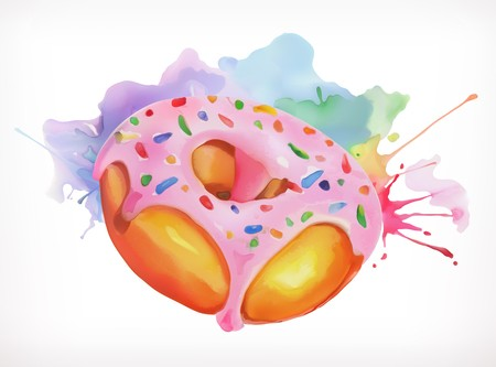 jpg black and white library Vector donut border. Glaze pink frosting with