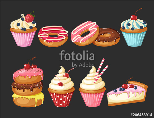 graphic library download Vector donut cupcake. Set of sweet bakery