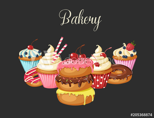 banner transparent stock Set of sweet bakery. Vector donut cupcake