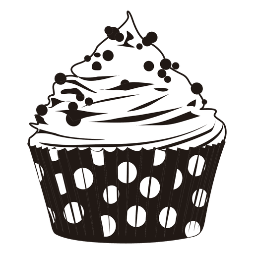 svg black and white stock Vector donut cupcake. Download illustration with dots