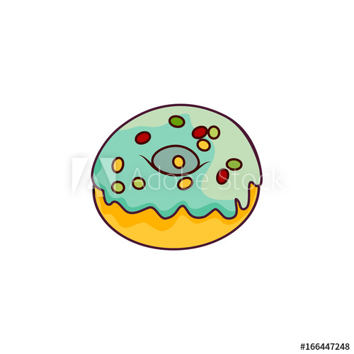 jpg free With blue glaze icing. Vector donut flat