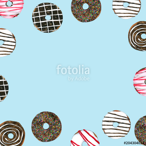 clip freeuse library Donuts watercolor frame blue. Vector donut hand drawn