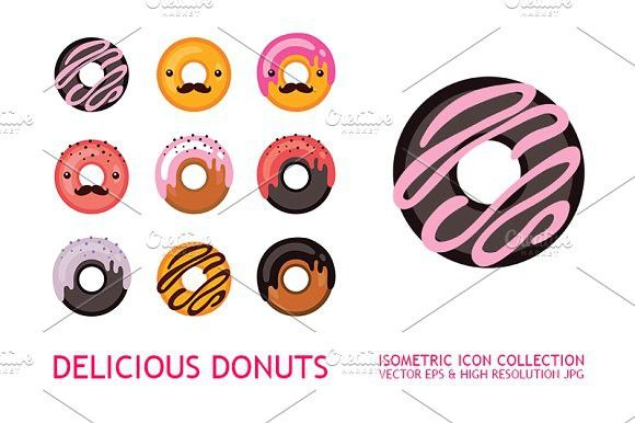 svg library download Icons collection flat design. Vector donut hipster