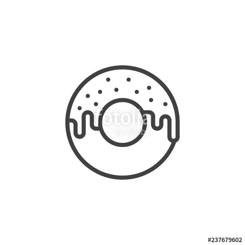 graphic library library Doughnut outline icon linear. Vector donut simple