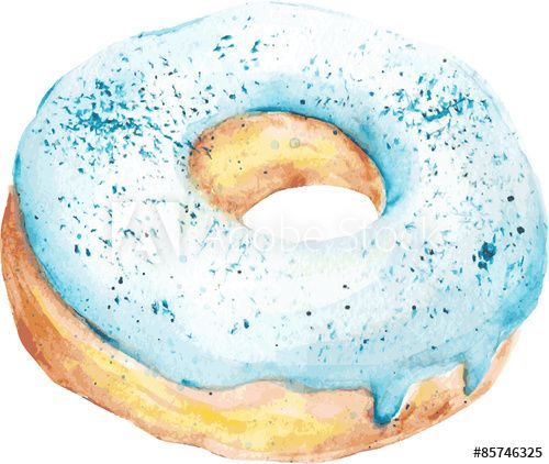 clipart freeuse library Isolated watercolor blue donut