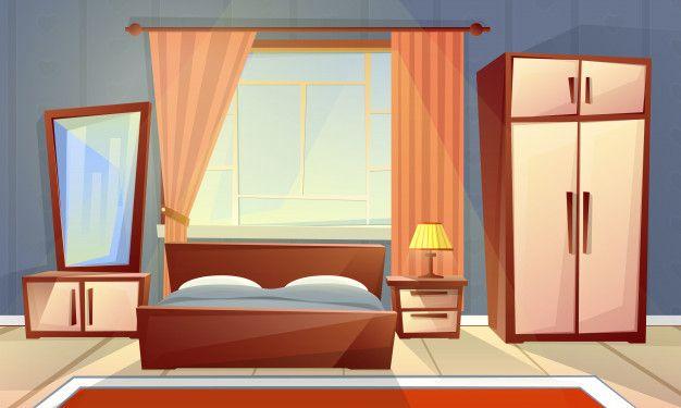 clipart royalty free Cartoon interior of cozy. Vector door bedroom