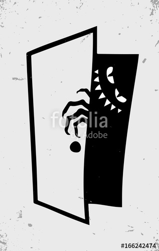 png library library Scary monster in darkness. Vector door creepy