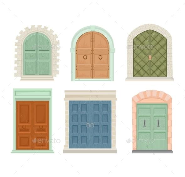 graphic freeuse Vector door doorway. Doors vintage
