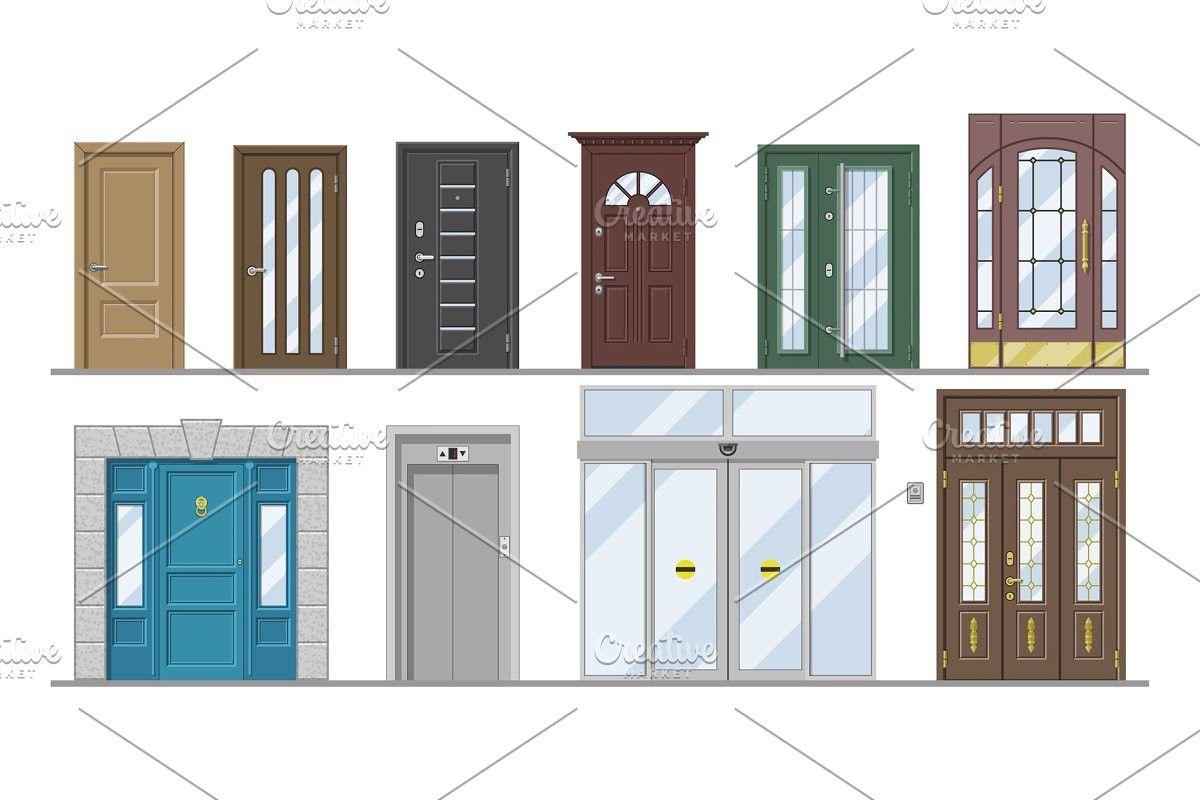 jpg royalty free stock Doors front entrance wooden. Vector door doorway