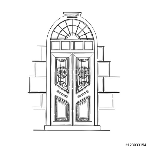 vector black and white library Illustrations old vintage isolated. Vector door hand drawn