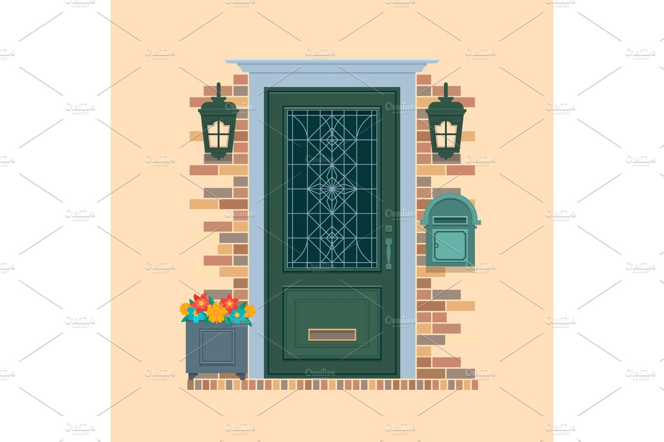 clip library Vector door home. Elements of architecture front
