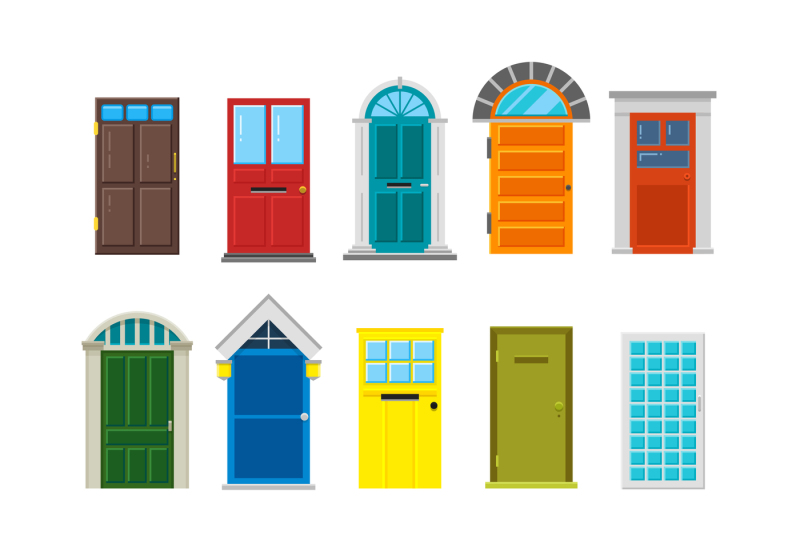 vector free stock Front doors flat set. Vector door house