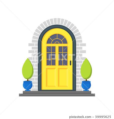 graphic free download Vector door house. Cartoon yellow front of