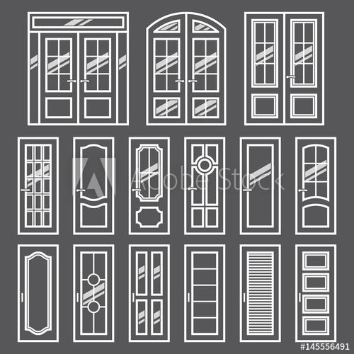 clip art freeuse library Vector door modern. Doors design set and
