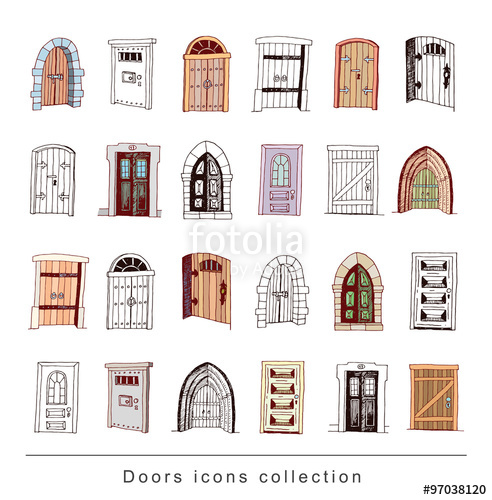 svg freeuse library Set of icon illustration. Vector door old