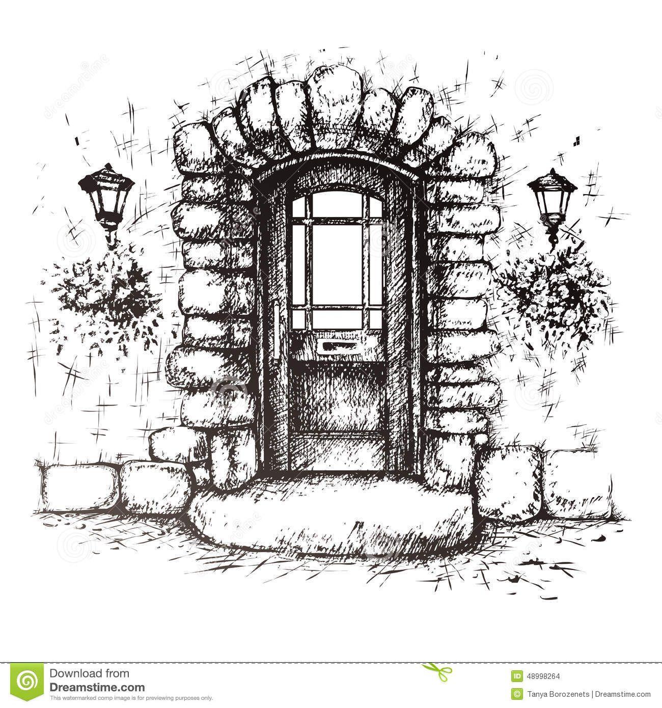 jpg transparent download Vector door sketch. Freehand drawing of old