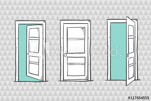 clip library stock Set of doors closed. Vector door sketch