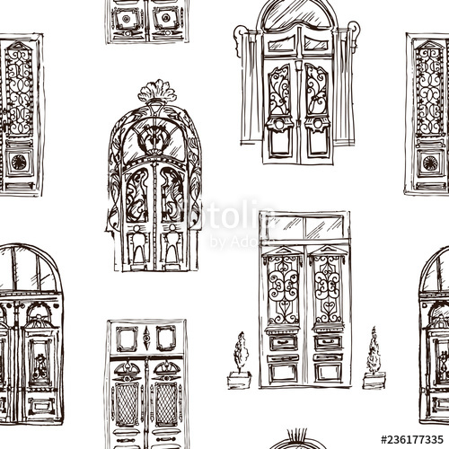 vector black and white download Drawing vintage seamless background. Vector door sketch