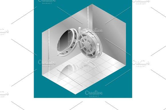 transparent Open bank isometric illustration. Vector door vault