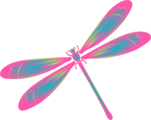 image free Dragonfly In Flight Blue Green Pink Clip Art at Clker