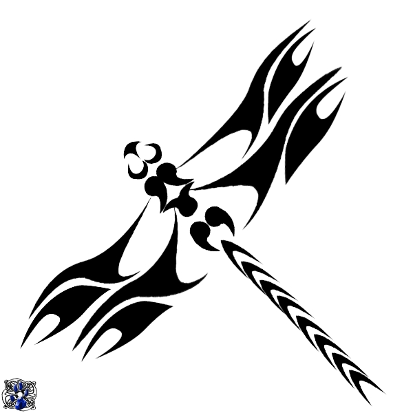 vector black and white download Black Tribal Dragonfly Tattoo Design Sample