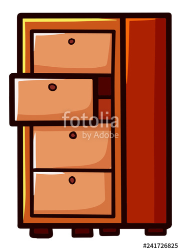free Cute and funny cabinet. Vector drawer