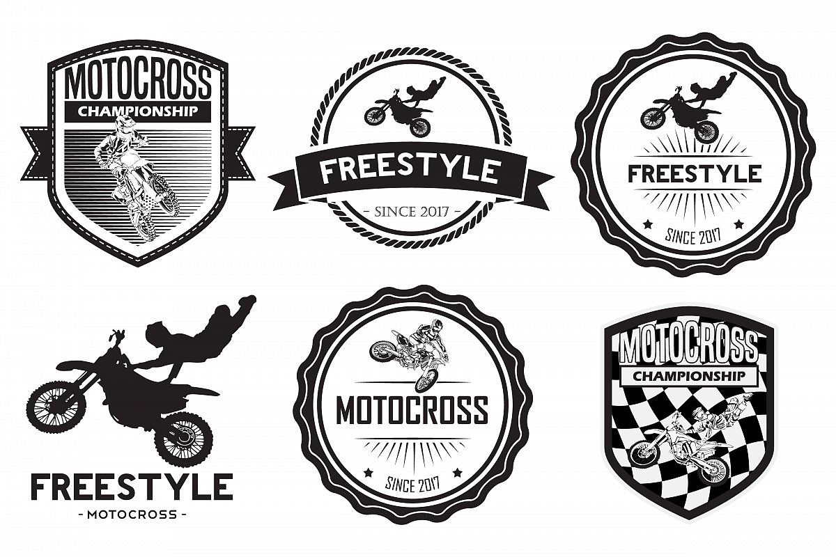 jpg freeuse download Vector emblem. Set of motocross badge.