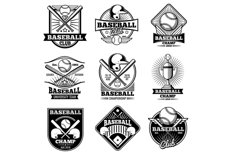 clipart royalty free download Vector emblem baseball. Vintage labels and emblems