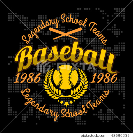 graphic library Tournament for t shirt. Vector emblem baseball