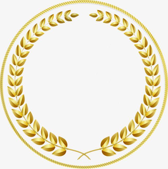 jpg royalty free download Vector emblem border. Gold circular frame fringe