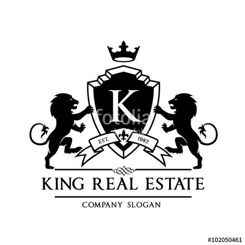 jpg download Vector emblem crest. King royal logo lion